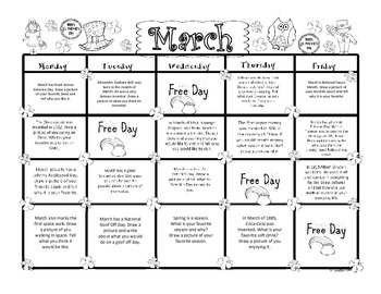 March Kindergarten Writing Prompts and Journal Pages (CCS