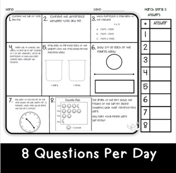 March Math Spiral Review: Daily Math for 3rd Grade (Print
