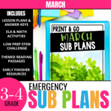 No Prep March Sub Plans for 3rd Grade & 4th Grade