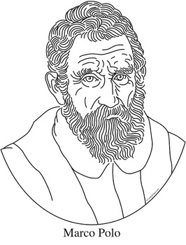Marco Polo Clip Art, Coloring Page, or Mini-Poster by