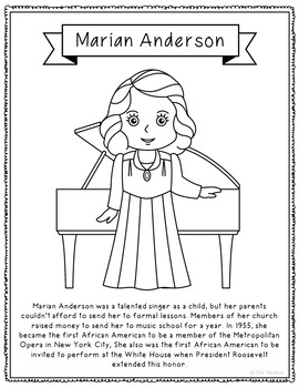 Marian Anderson Biography Coloring Page Craft or Poster
