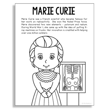 Marie Curie Coloring Page Craft or Poster with Biography