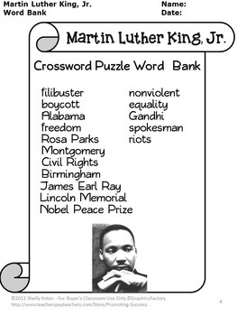 Black History Month Crossword Puzzle, Martin Luther King