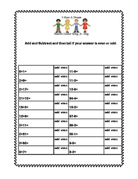 Martin Luther King Jr. Math and Reading Worksheets Grades