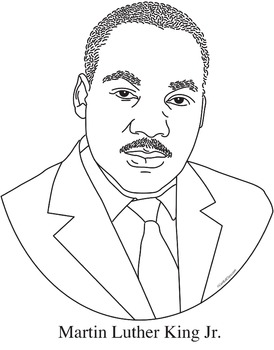 Martin Luther King Jr. Realistic Clip Art, Coloring Page