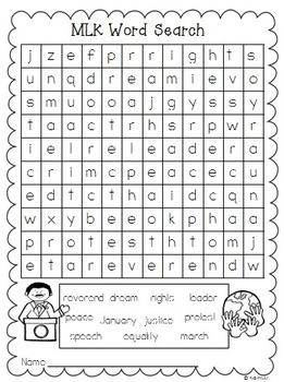 Martin Luther King Word Search {Freebie} by Creative