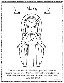 FREEBIE! Mary, Mother of Jesus, Christmas Coloring Page
