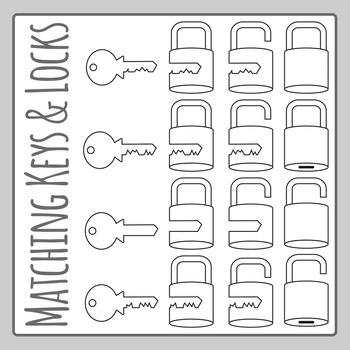 Matching Keys and Locks Line Art Clip Art Set for