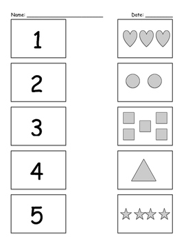 Matching Numerals to Objects Numbers 1-5 by Mrs Robinson's