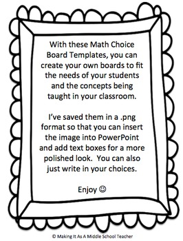 Math Choice Board Templates ~ Create-Your-Own by Making It