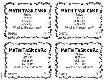 Math Common Core Task Cards 5th Grade CCSS 5.NBT.2 by