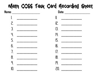 Math Common Core Task Cards 6th Grade CCSS 6.RP.1 (Ratios