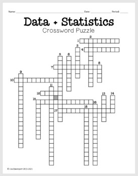 Math Crossword Puzzle (Data & Statistics) by Lisa