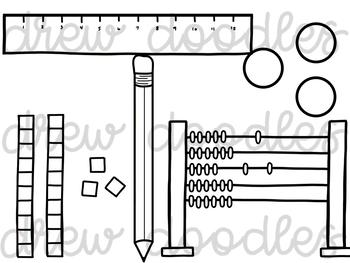 Math Doodles Digital Clip Art Set- Black Line Version by