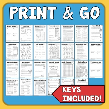 Math Worksheets for Basic Skills Review, Math Enrichment