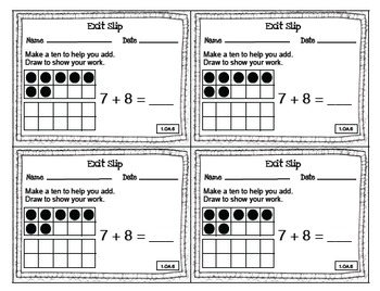 Math Exit Slips 1st grade Operations & Algebraic Thinking