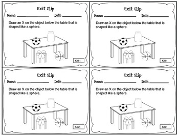 Math Exit Slips Kindergarten Geometry CCSS by LOL- Loving