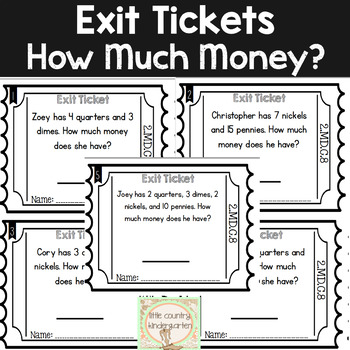 Math Exit Tickets: Second Grade Money 2.MD.C.8 by Little