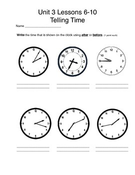 Math Expressions Unit 3 Lessons 6-10 Grade 3, Telling Time