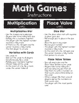 Math Games Instructions for Parent Night by Little Monster