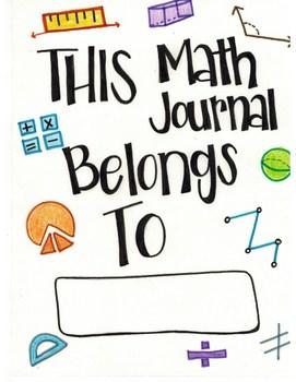 Math Journal Cover by 4th Grade InSPEERation  Teachers Pay Teachers