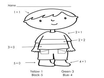 Math Kindergarten Worksheets Patterns, Color by Number and