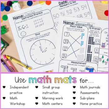 January Math Review Worksheets for First Grade by Proud to