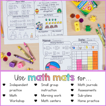 Summer Math Review Worksheets for First Grade by Proud to