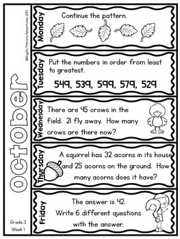 Math Problem of the Day for Grade 3: BUNDLE (Canadian