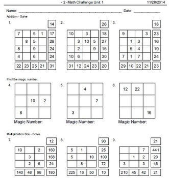 Math Puzzles, Tables and Drills: Addition, Subtraction