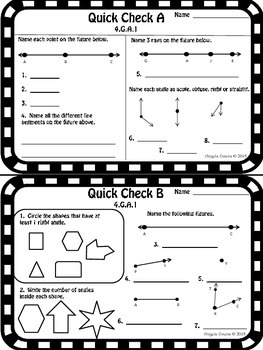 Math Quick Checks: 4th Grade Geometry Common Core by