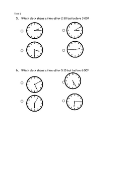 Math-Telling Time pre-post assessment pages (ITBS style
