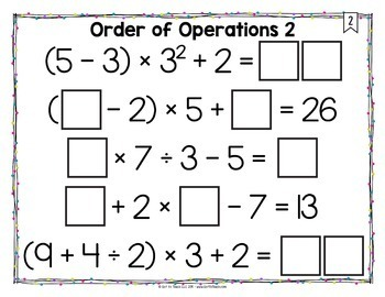 Math Tiles: Order of Operations 2 {With Exponents} Math