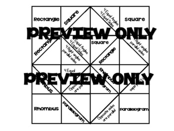 Math Vocabulary Quadrilateral Cootie Catcher by Nala Bella