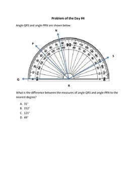 Math Word Problems (4th Grade STAAR) Measuring Angles