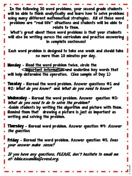 Math Word Problems of the Week for 2nd Grade in Spanish by