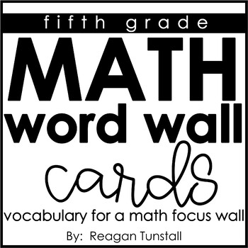 Math Word Wall Vocabulary Cards Fifth Grade by Reagan