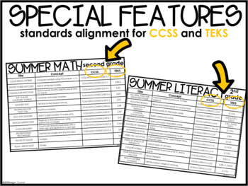 Math and Literacy Centers Summer Second Grade by Reagan