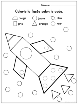 French Colour by Shape MATH Worksheets (No Prep