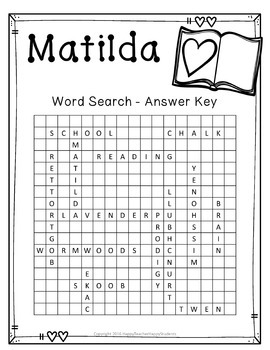 FREE Matilda Word Search Activity by