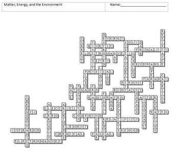 Matter and Energy Crossword Puzzle by Science from Murf