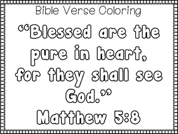 Beatitudes For Kids-Matthew 5:8 Handwriting and Color