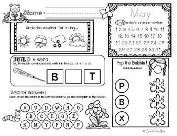 May Daily Literacy & Math Morning Work {Pre-K