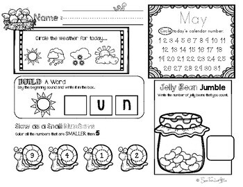 May Daily Literacy & Math Morning Work {Pre-K