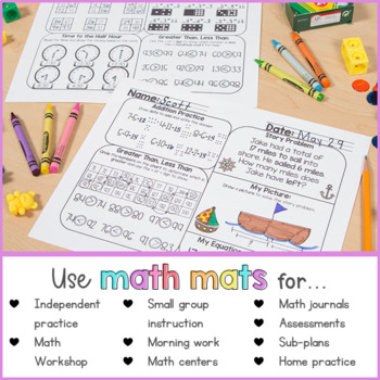 May Math Review Worksheets for First Grade by Proud to be