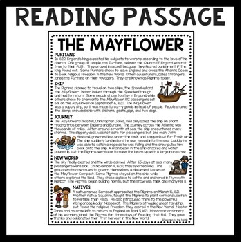 Mayflower Informational Text Reading Comprehension