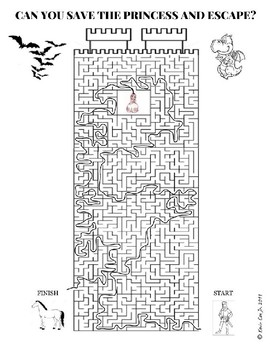 Maze Save the Princess and Escape Puzzle Worksheet by