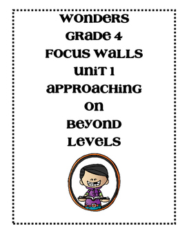 WONDERS 2014/2017 edition Grade 4 Unit 1 Focus Walls by