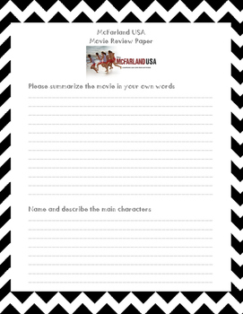 McFarland USA Movie Review Printable Worksheet by Tracey