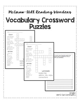 McGraw-Hill Reading Wonders Grade 1 Unit 2 Vocabulary